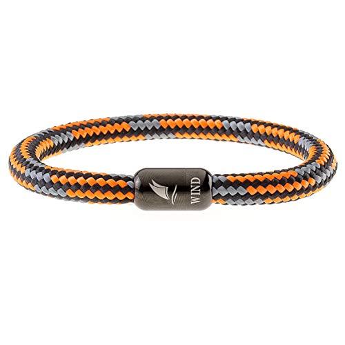Wind Passion Arancione Bracciale con Magnete Nautico Corda Marino per Uomo e Donna, Taglia Medium