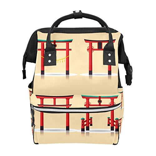 Traditional Torii Pattern School Backpack Large Capacity Mummy Bags Laptop Handbag Casual Travel Rucksack Satchel for Women Men Adult Teen Children