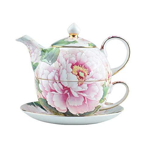 YINGGEXU Juego de té Conjunto de té de China de Hueso, la Tetera y de la Taza de té de combinación, Pintada a Mano peonía, Adecuado for familias, de los Ornamentos, Regalos