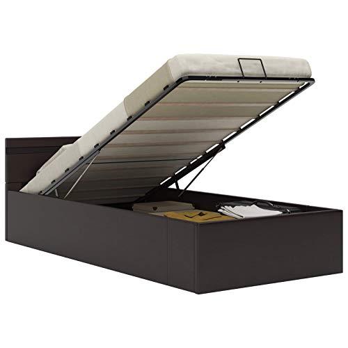 vidaXL Stauraumbett Hydraulisch LED Polsterbett Einzelbett Bett Schlafzimmerbett Kunstlederbett Bettrahmen Bettgestell Lattenrost Grau 90x200cm