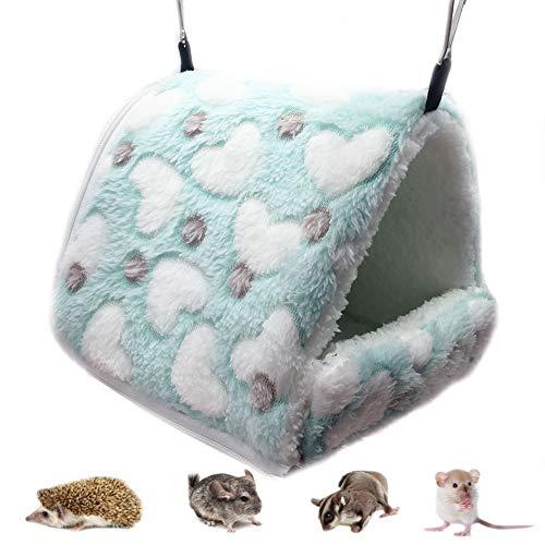 LeerKing Lettini per Piccoli Animali Amaca per Piccoli Animali casa Gabbia Nido per Animali Domestici Amaca Calda per Coniglio cincillà cavia ratti criceti Verde M