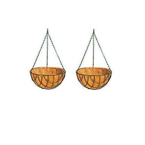 Dhavesai Coir Hanging Thick And 10-Inch Pot For Home Garden (Pack Of 2) ( Green Color ) - Srisai Naturals