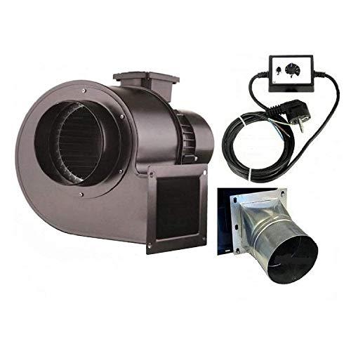 UZMAN Industrie Radial Gebläse OB200M mit 500 Watt Drehzahlregler und 4 eck-rund Flansch, Zentrifugal Saugventilator, Radialgebläse ventilator lüfter ablüftung ablüfter