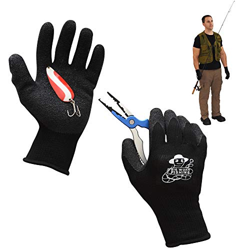 Fishing Gloves – Fish Handling Gloves for Fishing – Textured Grip Palm Fish Cleaning Gloves – Soft Lining Fishing Glove – Fish Fillet Gloves – One Size Fits Most L to XL Fishing Gloves
