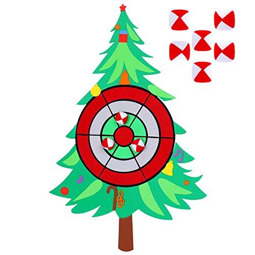 Aneco Christmas Tree Dart Board Sticky Balls Toys Games Spliceable Dart Board Kit for Christmas Toy Games, 1 Dart Board and 6 Balls