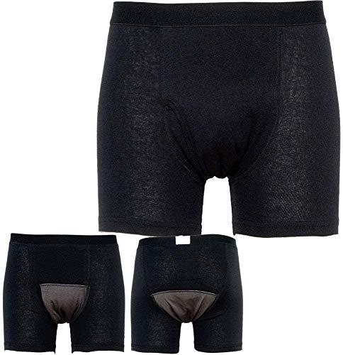 失禁パンツ 尿もれパンツ メンズ 男性用 ボクサーパンツ 吸収量150cc 前開き 2枚組み シミない 蒸れない 尿シミ 失禁対策 尿漏れ対策に ブラック Sサイズ