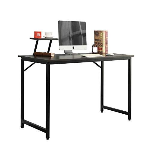 DlandHome 100x50cm Mesa de Ordenador con Panel de Soporte Escritorio de Oficina Mesa de Estudio Puesto de Trabajo Mesa de Despacho, Negro