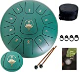 Ailla Steel Tongue Drum, C Key 11 Notes 12 Inch Hand Drum, Percussion Instrument Tankdrum with Mallets Bag Set for Meditation Yoga Sound Healing(Green)