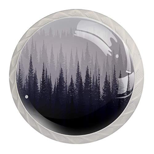 Perillas decorativas redondas para gabinete de cocina, cajones, cómoda, 4 piezas, patrón de bosque gris