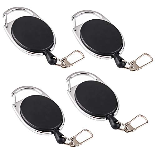 Keyring with Chain, 4 Packs Safety Retractable Heavy Duty Key Chain with Nylon Cord for Belt Clip, Elastic Key Holder Black for Men (3.5cm)