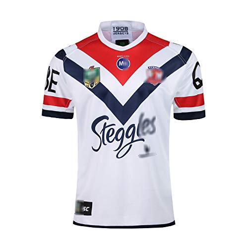 Australien Roosters limitiertes Auflage Trainingskleidung Rugby Trikot 2018 2019 Herren Damen Kurzarm Sport Rugby T-Shirt Original Trikot für Sportveranstaltungen Steggles Rugby Trikot-White-S
