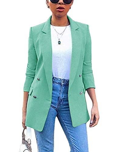 Minetom Damen Blazer Freizeit Stehkragen Business Büro Anzug Jacken Elegant Mantel mit Knopfleiste Military Coat Lang Blazer Slim Fit Blazer Grün 40