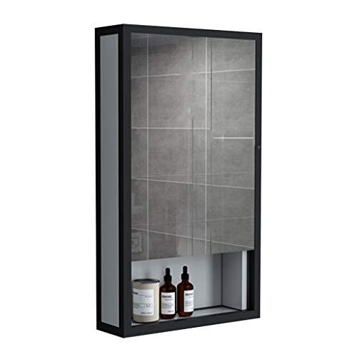 Petite Armoire de Toilette Armoire à Pharmacie en Alliage d'aluminium Armoire de Rangement cosmétique Encastré ou Montage en Surface (Color : Black, Size : 40 * 12 * 70cm)