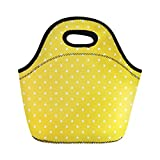 Semtomn Neoprene Lunch Tote Bag Yellow Cute Polka Dot Pattern Colorful White Retro Abstract Reusable Cooler Bags Insulated Thermal Picnic Handbag for Travel,School,Outdoors,Work