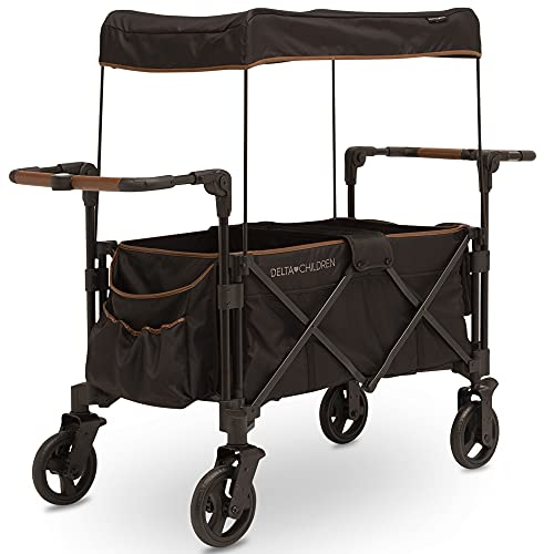 Delta Children Hercules Stroller Wagon for 2 Kids – Versatile Stroller Wagon with Canopy, Push/Pull Handles, Cup Holders and Storage Pockets – Compact Fold is Great for Travel, Black
