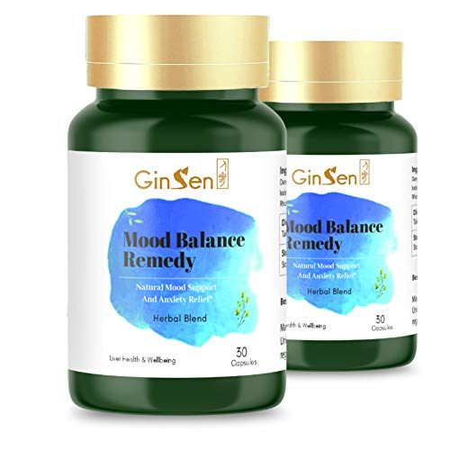 GinSen Mood Balance Remedy Helps with Mood Swings, Stress, Anxiety, Restlessness, Low Mood, Energy Boost, PMS, PMT, Natural Supplement, Chinese Medicine, Made in UK (60 Capsules (30x2))