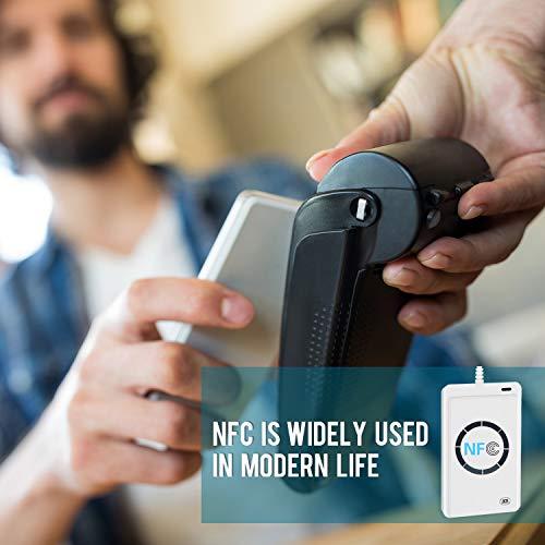 USB NFC RFID Reader Writer Kartenleser Chip RFID Lesegerät Fast NFC Reader Schreiber ACR122U ISO14443A/B Kontaktlos ID Card Verfasser, 424Kbps M1 UID