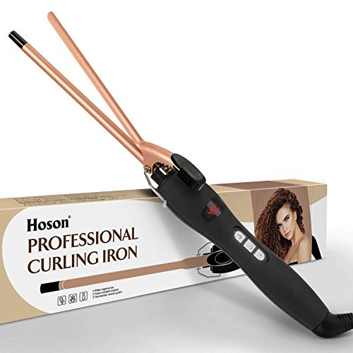 9mm Thin Curling Iron Ceramic, 3/8 Inch Small Barrel Curling Wand for Long & Short Hair, LCD Display...