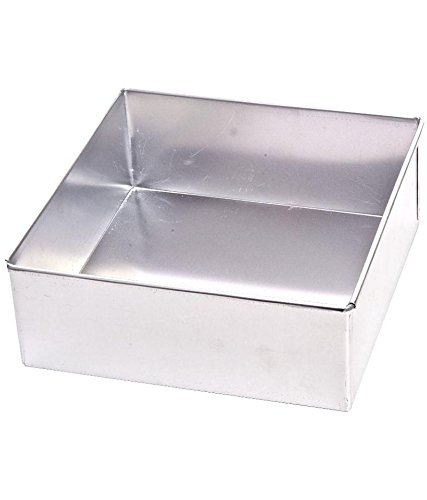 Rinkle Trendz Aluminium Square Cake Mould Cake Pan Cake Tin Tray 6 Inches X 3 Inches Height for Baking Half 1/2 kg 500 Grams in OTG Microwave Pressure Cooker 6x6x3 Inches