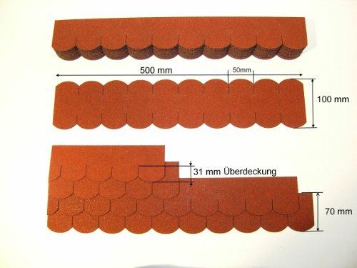 Martinshof Rothenburg - Mini Tejas de imitación (50 mm, Tejas de tejón de tejón de ripie), Color Rojo