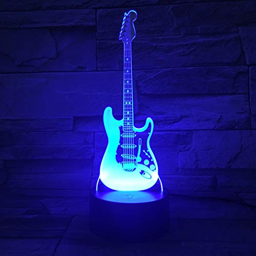 AZIMOM 3D Illusion Lamp Electric Guitar Decor Night Light for Kids 7 Colors Changing Smart Touch Optical Illusion Bedside Lamps Bedroom Home Decoration Boys & Girls Women Birthday Gifts
