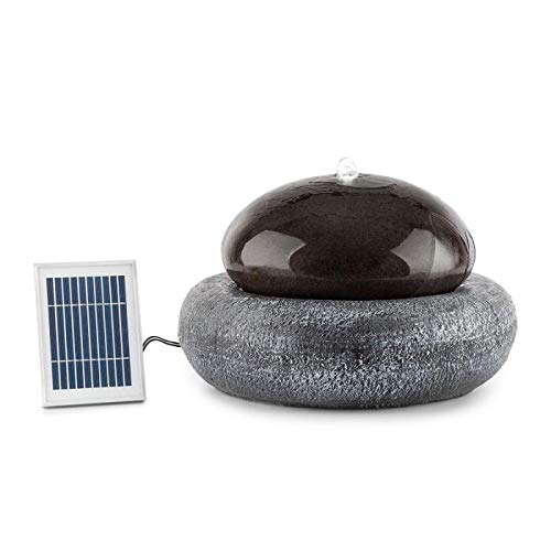 Blumfeldt Ocean Planet Solar Fountain • Water Feature • Ornamental Fountain • Garden Fountain • 200 l/h • Solar Panel • 2 Watts • LED • Extra-Long Connecting Cables • Polyresin