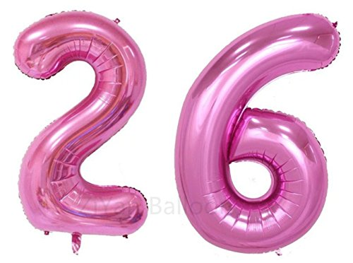 ZiYan 40inch Pink Number 26 Balloon Party Festival Decorations Birthday Anniversary Jumbo foil Helium Balloons Party Supplies use Them as Props for Photos