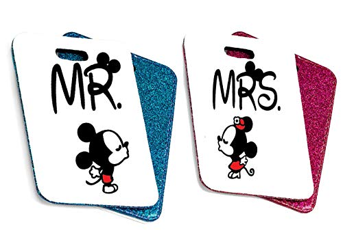 MR and MRS Mouse Luggage Tag Any Name Can Be Added PU Leather Luggage Tag Wedding Gift Just Married Disney Micky Minnie Mouse 10cm x 7cm x 0.5cm (Blue & Pink)