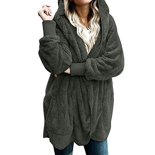 Mujeres Abrigo con Capucha de Abrigo Largo Manga Larga Chaqueta Sudaderas Parka Outwear Casual Cárdigan Capa Hoodie de Lana riou