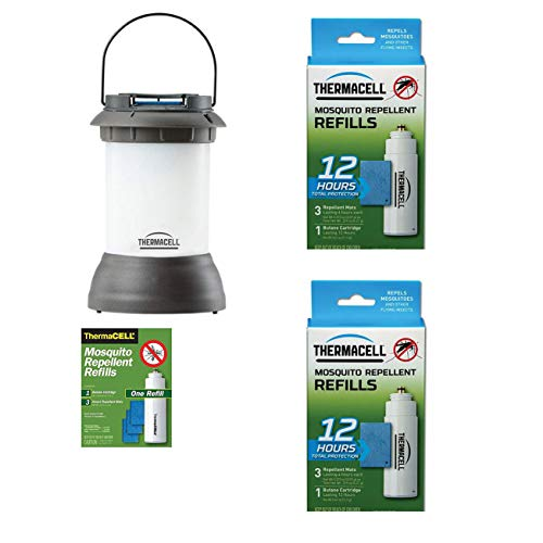 Thermacell Mosquito Repeller Lantern & Refill Pack, Black Bundle with Repellent Refill (2 Pack)