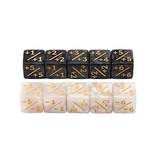 LovelysunshiDEany 10x Würfelzähler 5 Positiv + 1 / + 1 & 5 Negativ -1 / -1 Für Magie Das Sammeltischspiel Lustige Würfel Hohe Qualität - Weiß + Schwarz