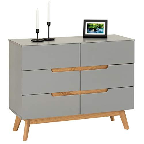 IDIMEX Kommode Schubladenkommode Tibor in nordischen Design, Sideboard Anrichte mit 6 Schubladen im skandinavischen Design, Kiefer massiv, grau lackiert