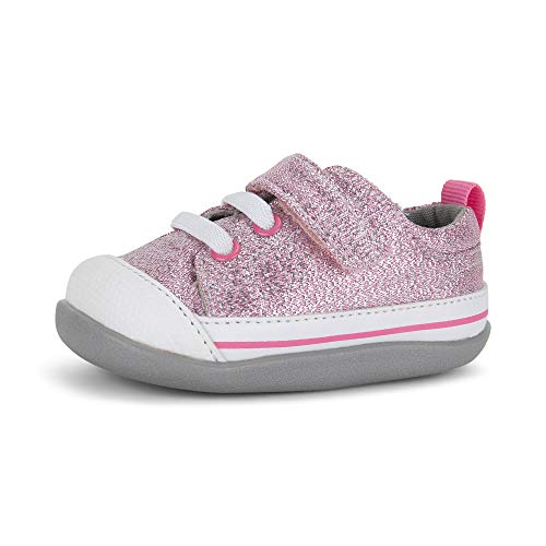 See Kai Run, Stevie II First Walker Sneakers for Infants, Pink Glitter, 5 M Infant