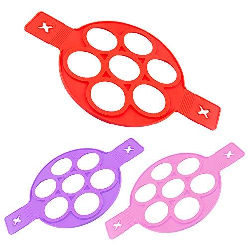 MICGEEK Pancake Form Flip Cooker Silikon Antihaft Pfannkuchenform Pfannkuchen Form Silikonform Silikonbackform für die Pfanne Backform für Pfanne Rund Rot Lila Rosa