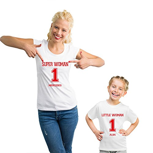 Regalo Personalizable para Madres: Pack de Camiseta para mamá + Camiseta para Hijo/a o Body para bebé 'Super Woman and Little Man/Woman' Personalizados con Sus Nombres y el número Que Quieras