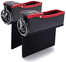 JHTY 1 Pair of Left Side and Right Side car seat Storage Box Slot Storage Box Pocket Bag with 7.5cm Cup Holder for Other Drinks and Water Cup (Red Black)