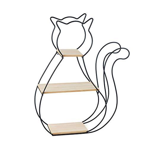 Balvi Estantería Cat Color Negro con 3 estantes de Madera con Forma de Gato Metal/Madera 53x36 cm