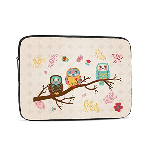 13 15 Inch Laptop Sleeve Bag Compatible with MacBook Pro Air Waterproof Shock Resistant Notebook Protective Bag Carrying Case with Small Case - Cute Owls