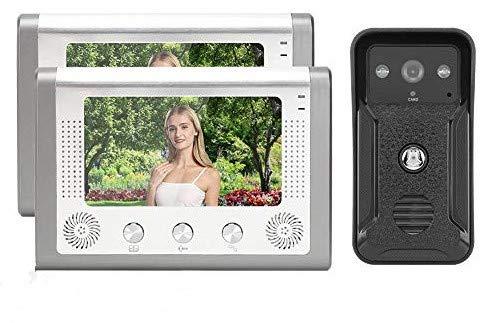 Videocitofono 7 pollici 2 unità di visualizzazione Campanello per visione notturna TFT Carta d'identità Videocitofono Videocitofono 100-240 V(EU Plug)