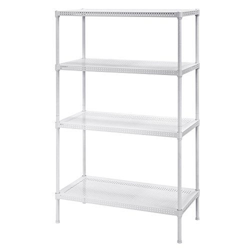 Muscle Rack PWS301447-4W Steel Wire Shelving, 4 Adjustable Shelves, 330 lb Per Shelf Capacity, 47' Height x 30' Width x 14' Depth, White