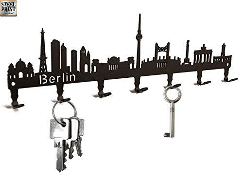 Schlüsselbrett / Hakenleiste * Skyline Berlin * - Schlüsselboard, Schlüsselleiste, Metall - 7 Haken - schwarz
