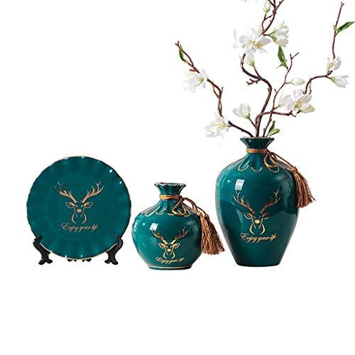 TWDYC Keramikvase Dekoration Desktop Blume Anordnung Dekoration Wohnzimmer Esstisch Büro Retro Blume Vase
