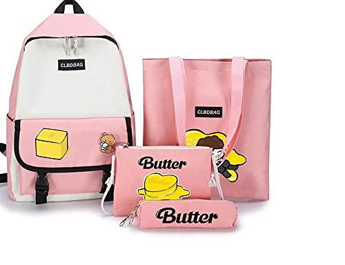 Butter BTS Mochila Merchandiser Set, mochila casual, bolsa de regalo con un solo hombro, bolsa y bolsa para lápices para regalos populares (rosa)