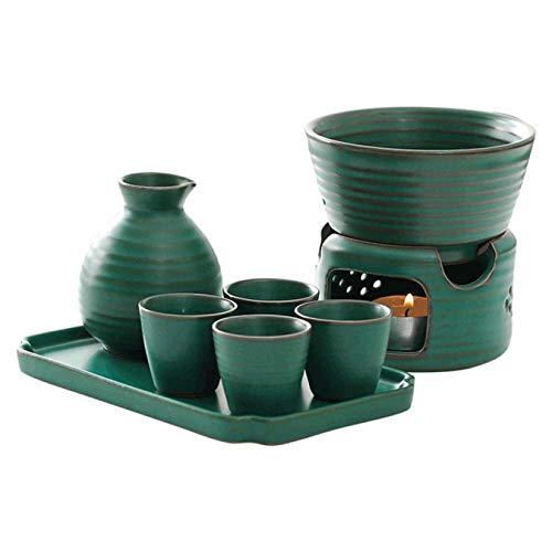 MYYINGELE Japonesa Porcelana Juego de Sake, Kit de Bebida de Saki Caliente de Cerámica Moderna con Bandeja, 7 Piezas Incluye 1 Estufa, 1 Cuenco para Calentar 1 Botella De Sake, 4 Tazas