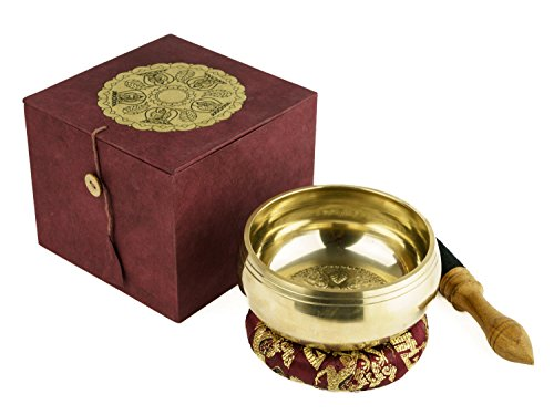 Geschmackvolle Klangschalen Geschenk Box, Dhyani Buddha, inkl. einem Ring mit Drachenmuster sowie einem Holz-/ Lederklöppel -5109-, Klangschalen-Set, Handarbeit aus Nepal,