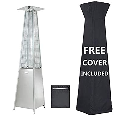 48,000 BTU Pyramid Patio Heater with wheels, Quartz Glass Tube Tower Windproof, Heater With Adjustable Thermostat, Suitable for Garden Wedding, Party, IncludesProtective Cover (Stainless steel)