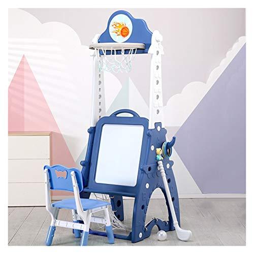 LUYJKL Altura de ajuste multifuncional Shooting Rack, pie libre 8 en 1 soporte de baloncesto con silla, azul niños pequeños juguetes de interior S