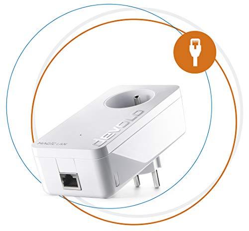 Devolo Magic 2 LAN 1-1-1 Adattatore CPL ultra-puissant fino a 2400Mbits/S, con presa di corrente integrata, Bianco