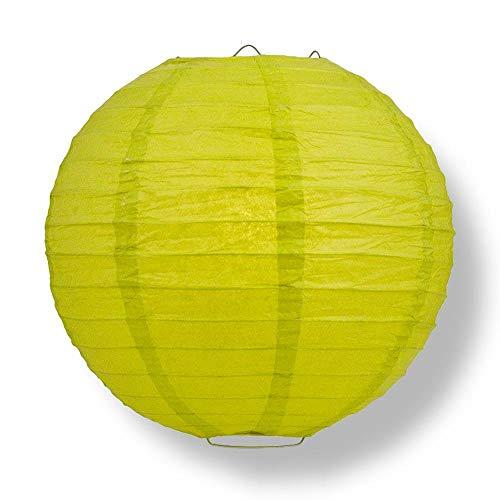 "Quasimoon PaperLanternStore.com 16"" Chartreuse Round Paper Lantern, Even Ribbing, Hanging Decoration"