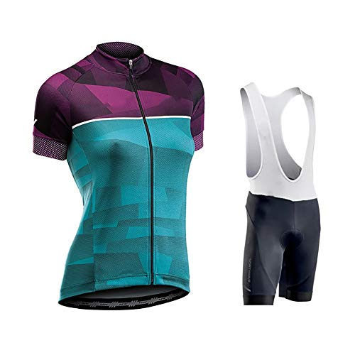 Yajun Ciclismo Maillot Jersey Bicicleta para Mujer Traje De Ropa De Bicicleta Kit De Ciclismo Corto Verano MTB Sports Short De Manga Corta Y Babero,D,S(160-168cm/50-55kg)